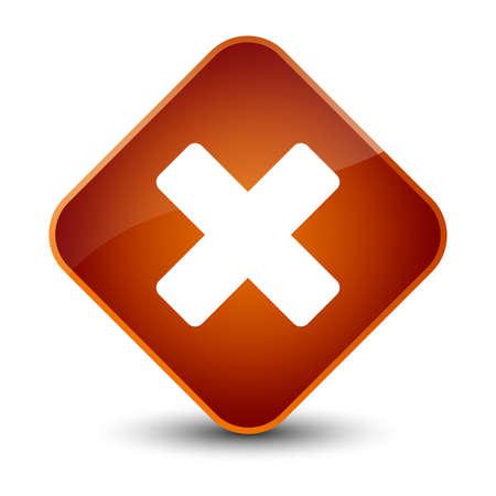 Cancel icon isolated on elegant brown diamond button abstract illustration Stock Photo