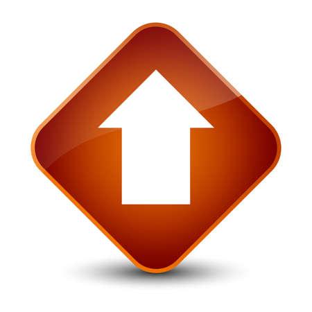 Upload arrow icon isolated on elegant brown diamond button abstract illustration