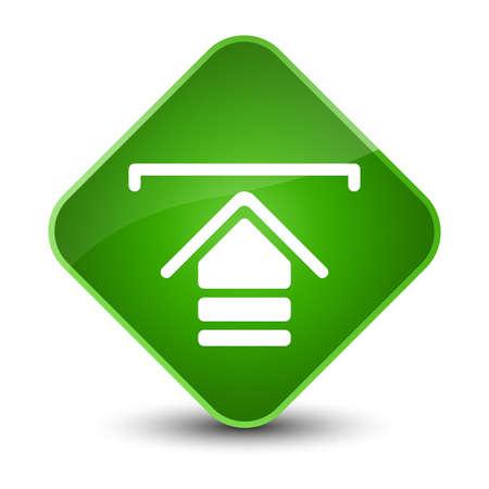 Upload icon isolated on elegant green diamond button abstract illustration Standard-Bild