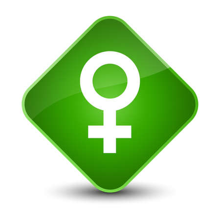 Female sign icon isolated on elegant green diamond button abstract illustration