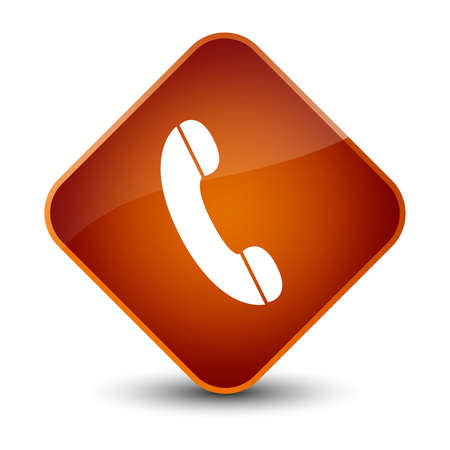 hotline: Phone icon isolated on elegant brown diamond button abstract illustration