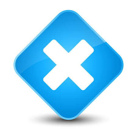 Cancel icon isolated on elegant cyan blue diamond button abstract illustration