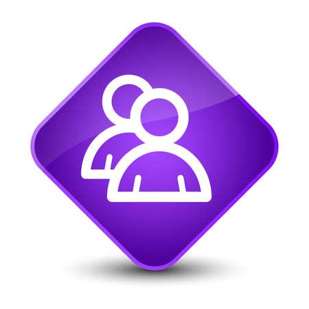 people icon: Group icon isolated on elegant purple diamond button abstract illustration