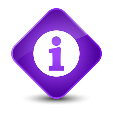 about: Info icon isolated on elegant purple diamond button abstract illustration