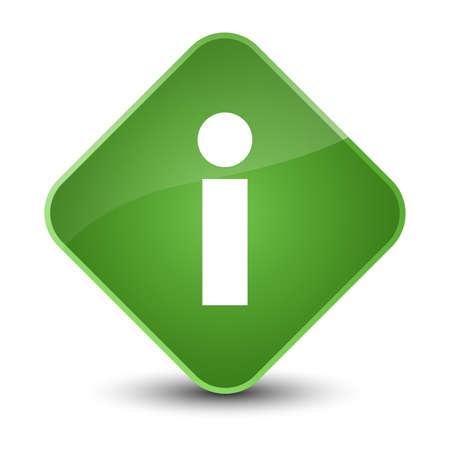 diamond: Info icon isolated on elegant soft green diamond button abstract illustration