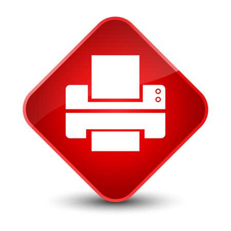 Printer icon isolated on elegant red diamond button abstract illustration