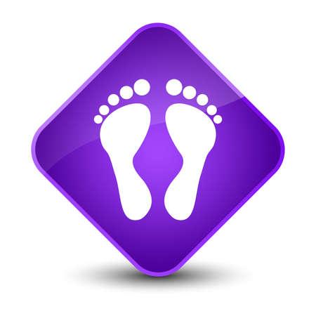 footmark: Footprint icon isolated on elegant purple diamond button abstract illustration