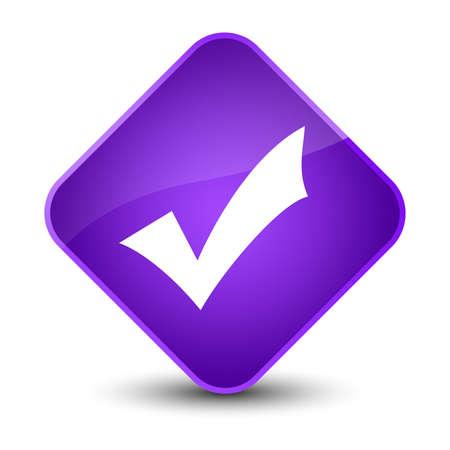 Validation icon isolated on elegant purple diamond button abstract illustration Stock Photo