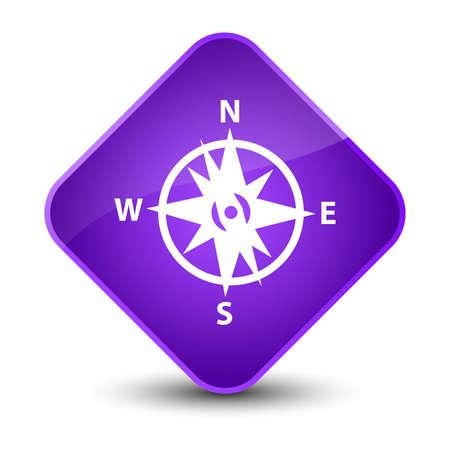 diamond: Compass icon isolated on elegant purple diamond button abstract illustration Stock Photo
