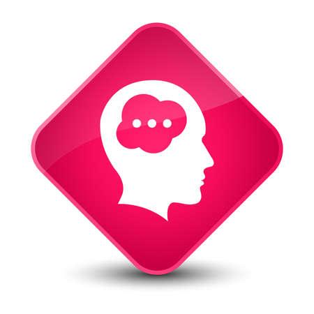 human face: Brain head icon isolated on elegant pink diamond button abstract illustration Stock Photo
