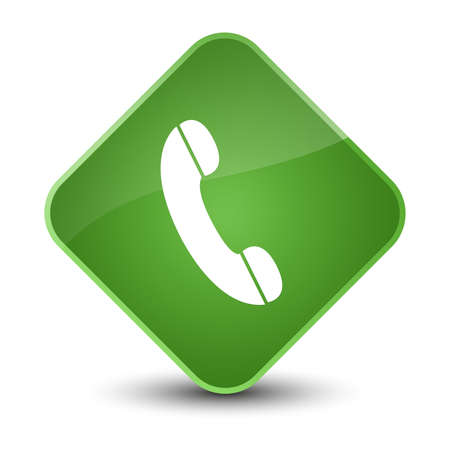 hotline: Phone icon isolated on elegant soft green diamond button abstract illustration