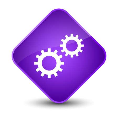 diamond: Process icon isolated on elegant purple diamond button abstract illustration