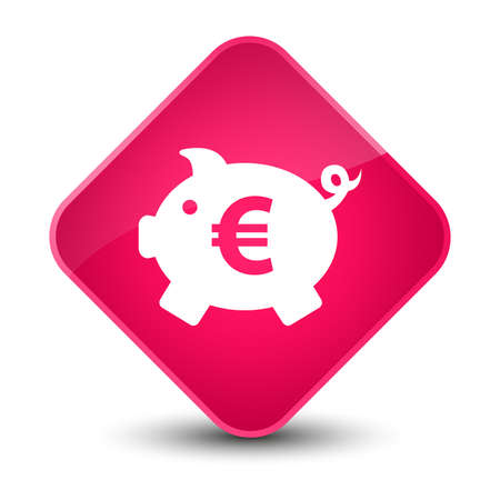 storage box: Piggy bank euro sign icon isolated on elegant pink diamond button abstract illustration Stock Photo