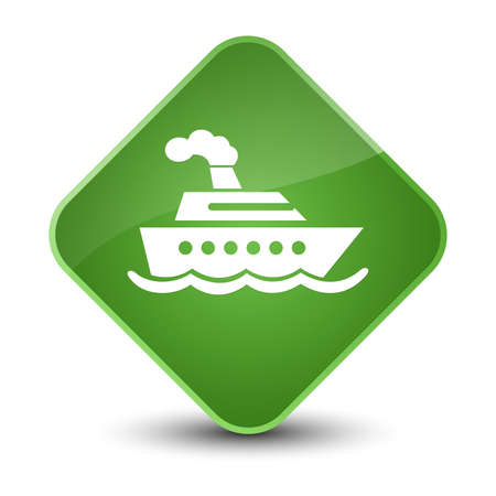 Cruise ship icon isolated on elegant soft green diamond button abstract illustration