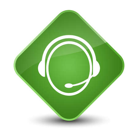 customer support: Customer care service icon isolated on elegant soft green diamond button abstract illustration Stock Photo