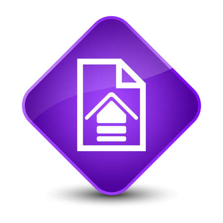Upload document icon isolated on elegant purple diamond button abstract illustration