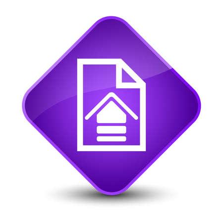 Upload document icon isolated on elegant purple diamond button abstract illustration
