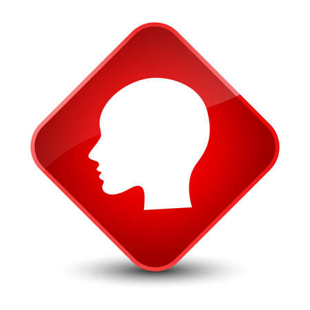 Head woman face icon isolated on elegant red diamond button abstract illustration
