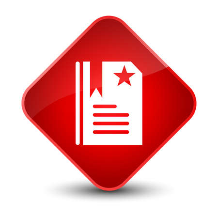 star: Bookmark icon isolated on elegant red diamond button abstract illustration