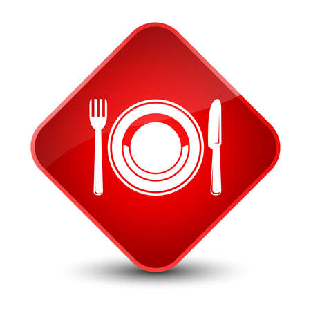 plate: Food plate icon isolated on elegant red diamond button abstract illustration
