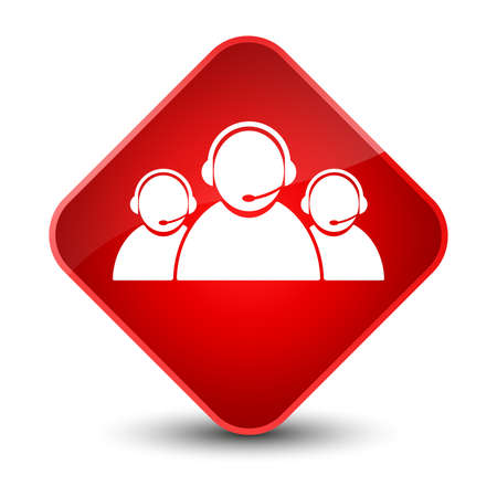 Customer care team icon isolated on elegant red diamond button abstract illustration