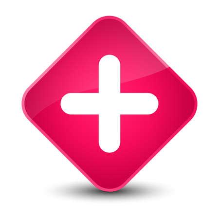 Plus icon isolated on elegant pink diamond button abstract illustration Stock Photo