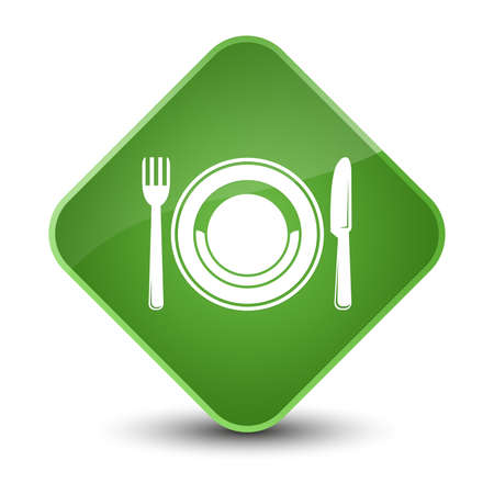 Food plate icon isolated on elegant soft green diamond button abstract illustration