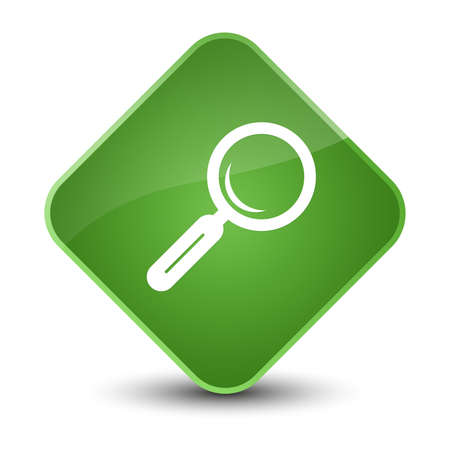 Magnifying glass icon isolated on elegant soft green diamond button abstract illustration