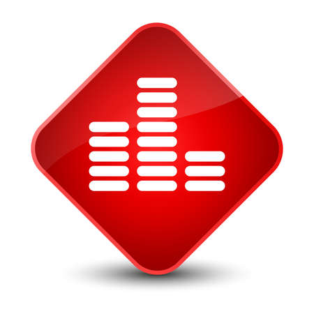 Equalizer icon isolated on elegant red diamond button abstract illustration