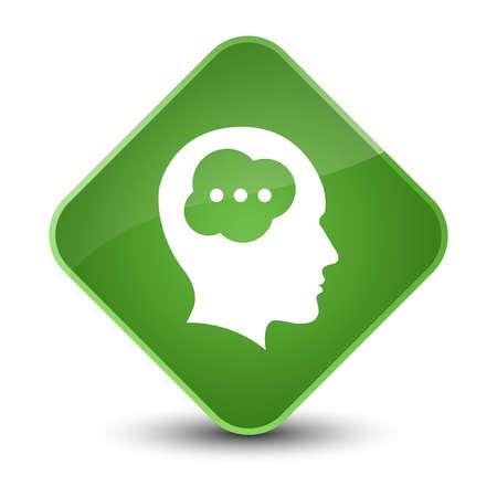 people icon: Brain head icon isolated on elegant soft green diamond button abstract illustration