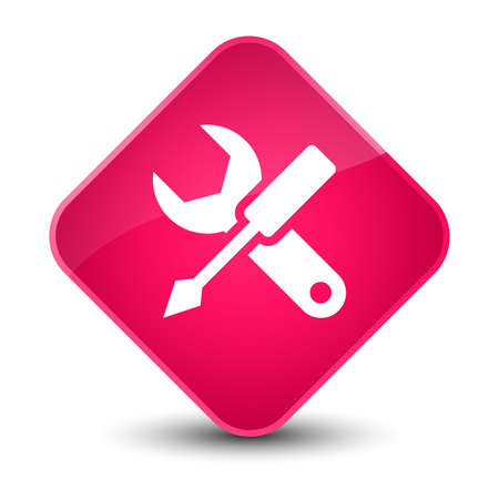Settings icon isolated on elegant pink diamond button abstract illustration Stock Photo