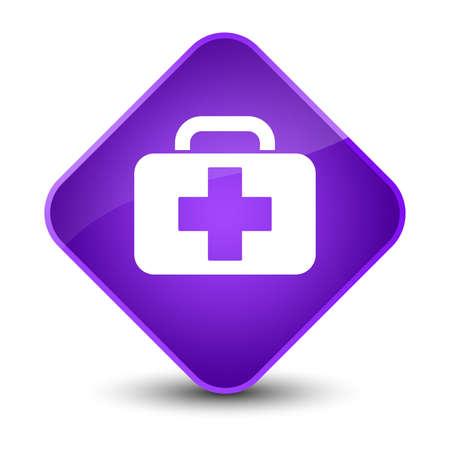 medical symbol: Medical bag icon isolated on elegant purple diamond button abstract illustration