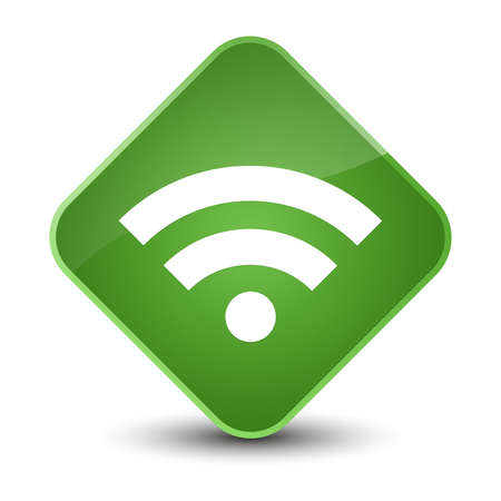 diamond: Wifi icon isolated on elegant soft green diamond button abstract illustration