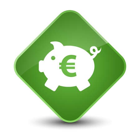 diamond: Piggy bank euro sign icon isolated on elegant soft green diamond button abstract illustration