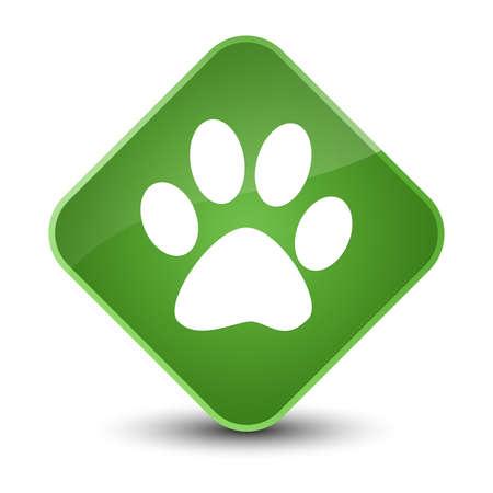 footmark: Animal footprint icon isolated on elegant soft green diamond button abstract illustration
