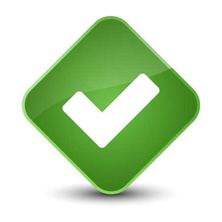 Validate icon isolated on elegant soft green diamond button abstract illustration