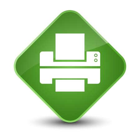 inkjet: Printer icon isolated on elegant soft green diamond button abstract illustration