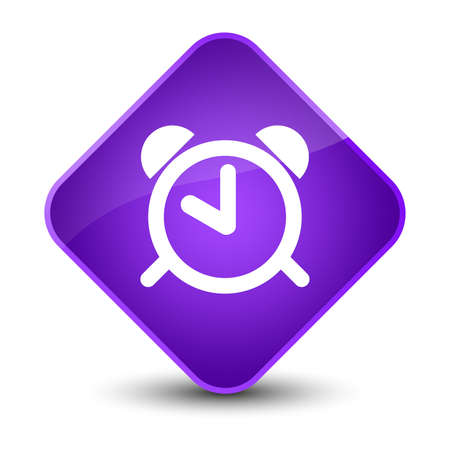 reminder: Alarm clock icon isolated on elegant purple diamond button abstract illustration Stock Photo