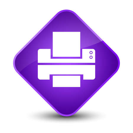Printer icon isolated on elegant purple diamond button abstract illustration