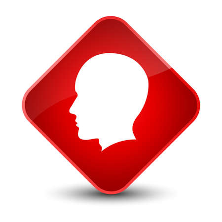 Head male face icon isolated on elegant red diamond button abstract illustration