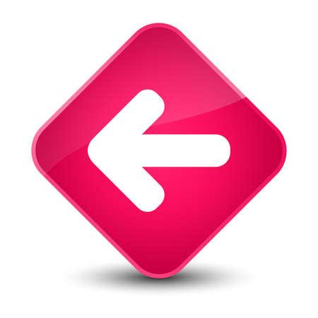 Back arrow icon isolated on elegant pink diamond button abstract illustration
