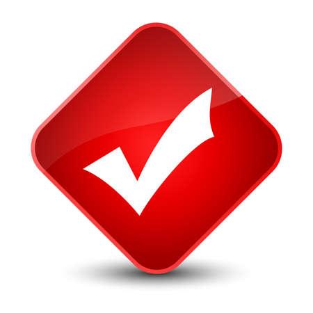 validate: Validation icon isolated on elegant red diamond button abstract illustration