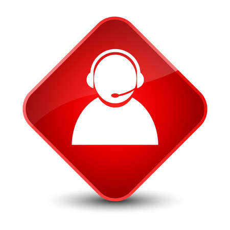 people icon: Customer care icon isolated on elegant red diamond button abstract illustration