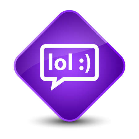 laughing out loud: LOL bubble icon isolated on elegant purple diamond button abstract illustration Stock Photo