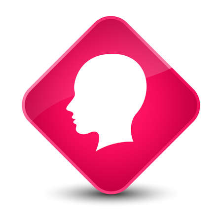 people icon: Head female face icon isolated on elegant pink diamond button abstract illustration