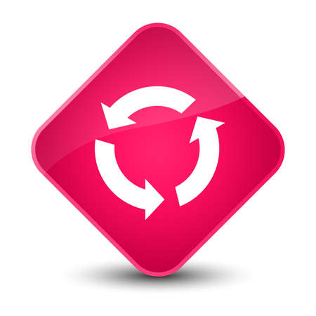 arrow icon: Refresh icon isolated on elegant pink diamond button abstract illustration