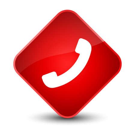 diamond: Phone icon isolated on elegant red diamond button abstract illustration Stock Photo