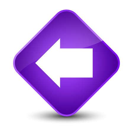 diamond: Back arrow icon isolated on elegant purple diamond button abstract illustration