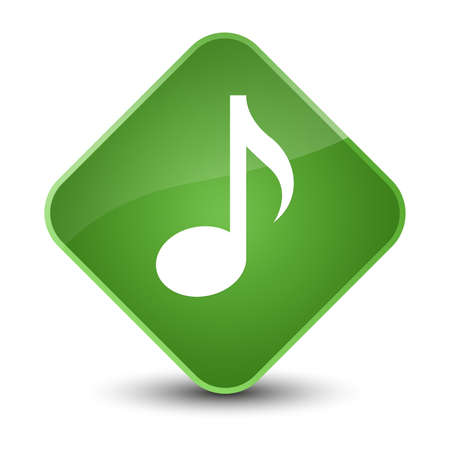 Music icon isolated on elegant soft green diamond button abstract illustration