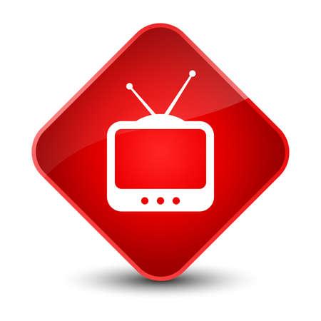 tvset: TV  icon isolated on elegant red diamond button abstract illustration